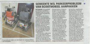 Artikel Telegraaf parkeerproblemen scootmobielen.